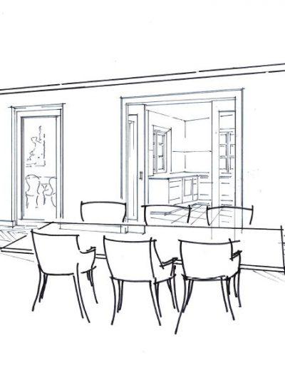 Skizze Esszimmer zur Küche